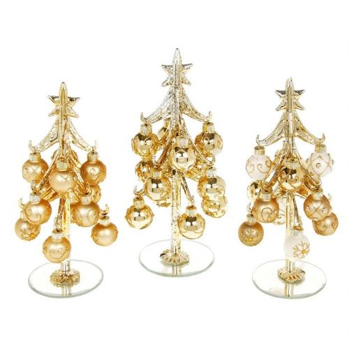 Medium Classic Gold Glass Christmas Trees with Gold Jewelled Baubles